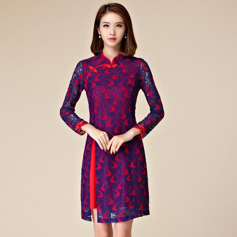 灰姑娘[9871-JK]改良旗袍式復古長袖唐裝中長款洋裝~晚禮服尾牙服~