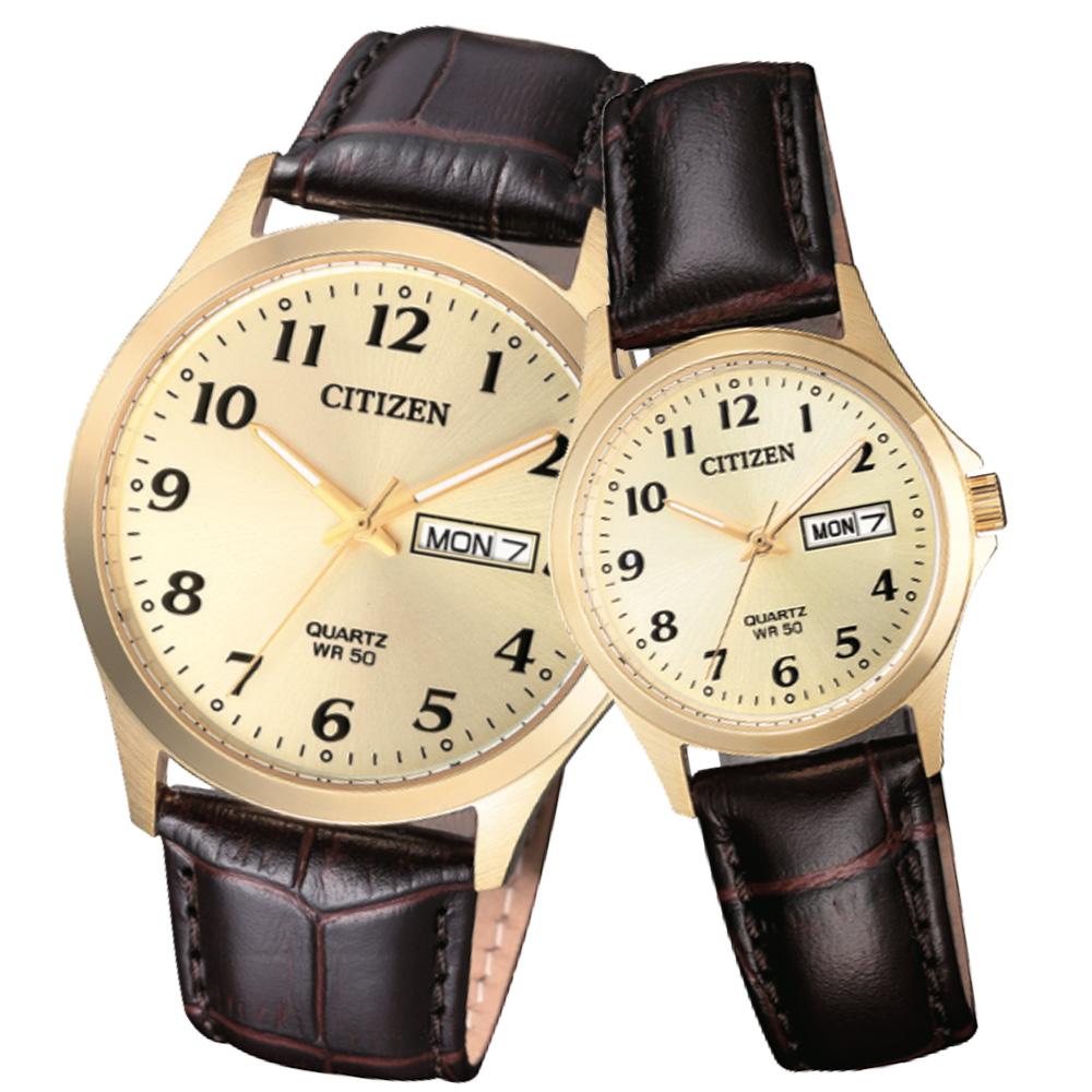 【CITIZEN 星辰】石英指針對錶 皮革錶帶 防水50米 日期/星期顯示BF5002-05P+EQ2002-07P