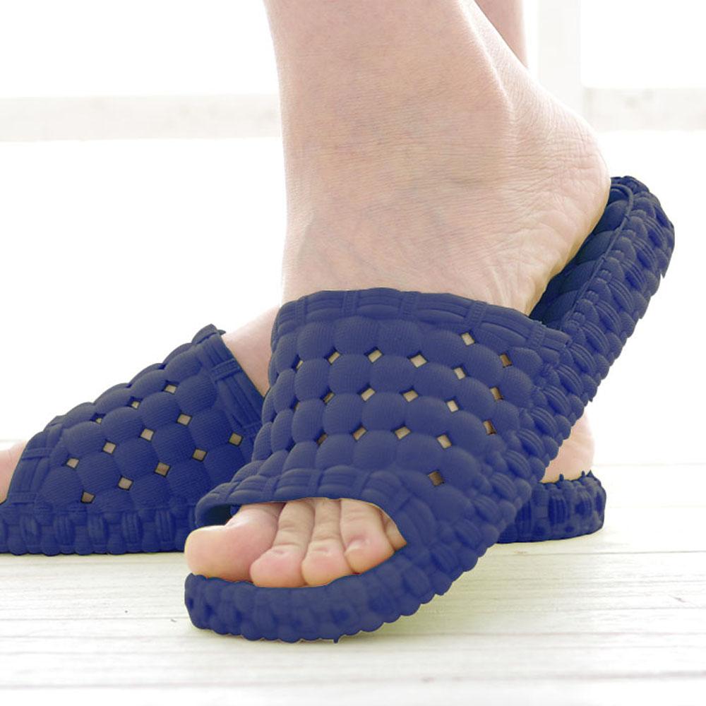 韓版超柔浴室瀝水防滑拖鞋 男款 (深藍色)