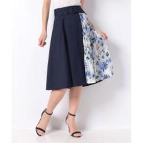 花柄プリーツ切替/スカート