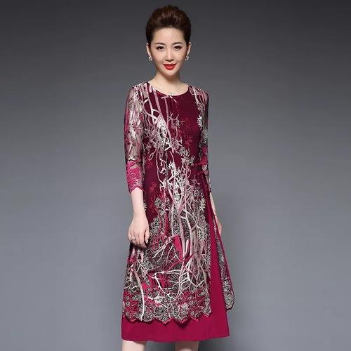 Olivia奧莉精品 華麗剌鏽開叉罩衫短袖洋裝 M~5XL 洋裝 連身裙 禮服 伴娘服 媽媽裝