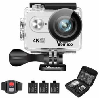 Vemico アクションカメラ 4K カメラ 防水 ウェアラブルカメラ WIFI搭載 アクションカム 1600万画素 2インチ液晶画面 170度広角 40m防水