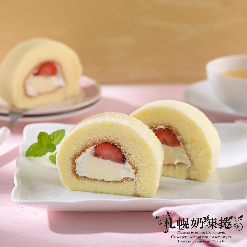札幌奶凍捲 草莓奶凍捲3條(400g±10g/條)