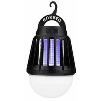 enkeeo 電撃殺虫器 UV光源誘引式 薬剤不要 赤ちゃんやペットにも安心 LEDランタン&誘虫灯 蚊取り&照明両用 2000mAh容量 USB充電式 IPX6