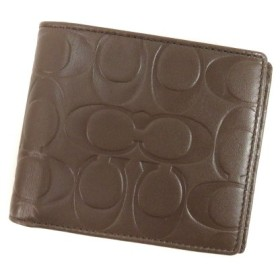 COACH【コーチ】 シグネチャー 二つ折り財布(小銭入れなし) レザー レディース 【中古】