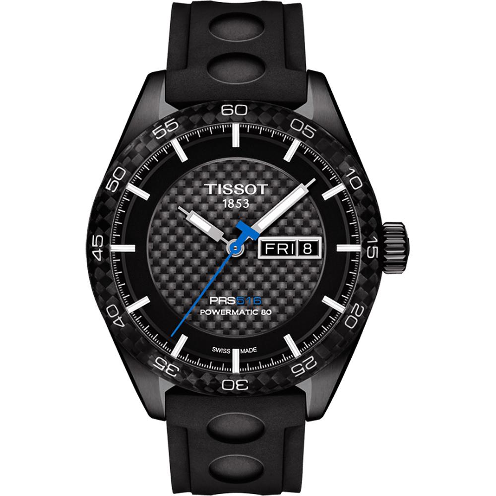 TISSOT天梭 PRS516 系列時尚機械腕錶-黑x橡膠錶帶/42mm T1004303720100