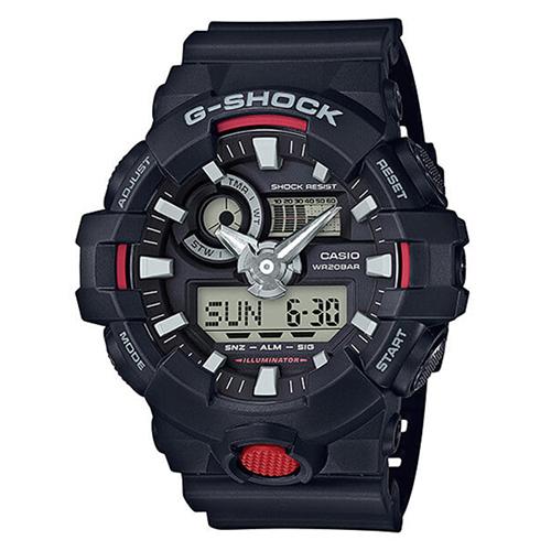 CASIO 卡西歐G-SHOCK 鬧鈴電子錶-黑紅 / GA-700-1A (台灣公司貨)
