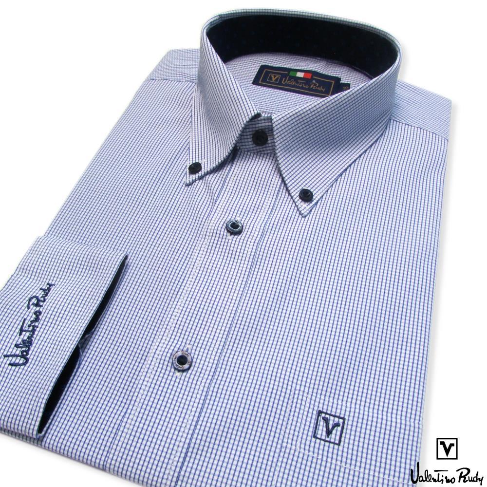 Valentino Rudy范倫鐵諾.路迪長袖襯衫-藍格紋-釘釦領
