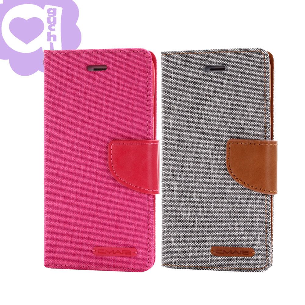 Apple iPhone 7 韓風雙色牛仔紋皮套 側掀磁扣支架式皮套  桃灰多色選擇