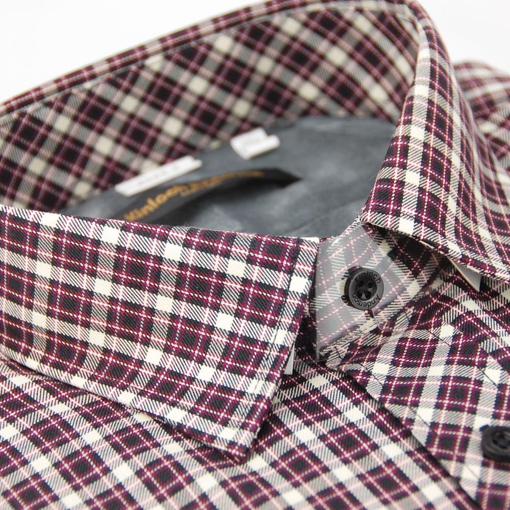 【金安德森】紫紅格紋黑釦內裡刷毛長袖襯衫