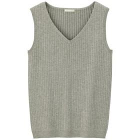 (GU)ワイドリブVネックセーター(ノースリーブ) GRAY L