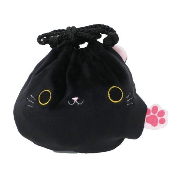 貓咪 多功能 束口袋 收納袋 黑色 日本正版 該該貝比日本精品 ☆