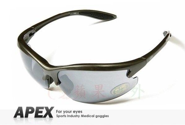 【【蘋果戶外】】APEX 610 灰 台製 polarized 抗UV400 寶麗來偏光鏡片 運動型太陽眼鏡 可加購近視鏡框 附原廠盒、擦拭布(袋)