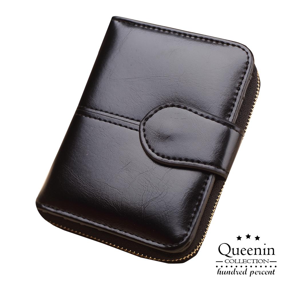 DF Queenin皮夾 – 復古百搭大容量零錢拉鏈短夾-黑色