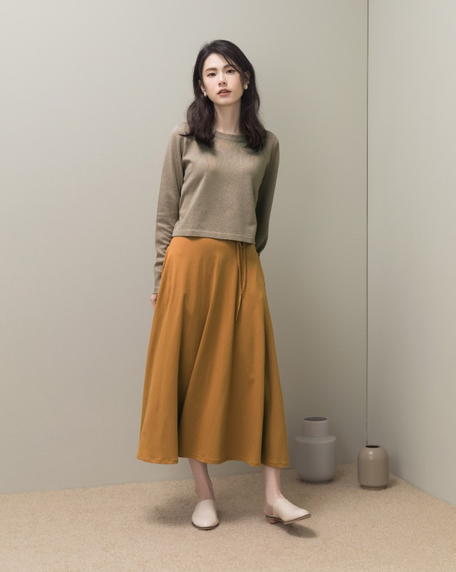 MEIERQ+MIT 細綁帶傘狀長裙(附綁帶)