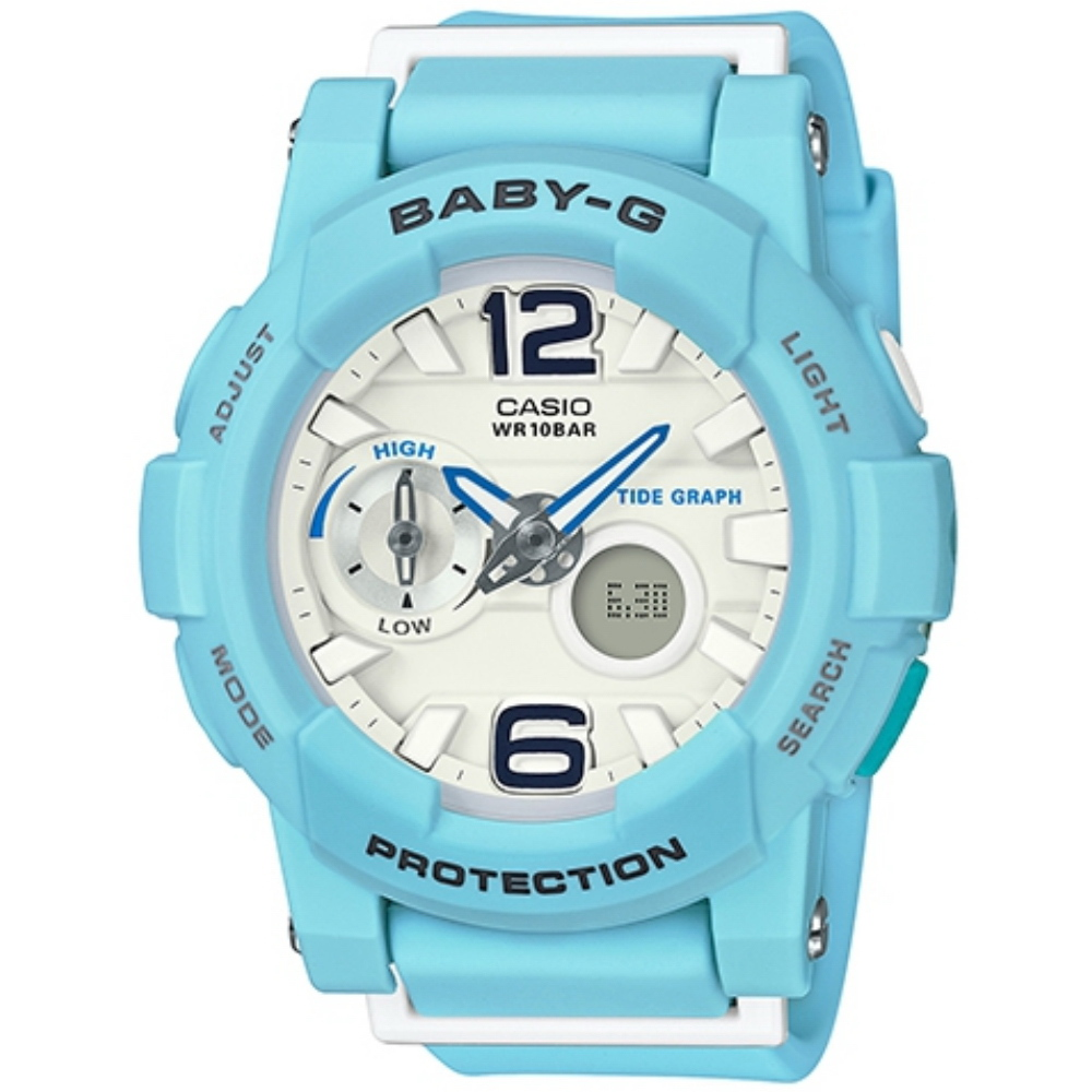 CASIO 卡西歐 BABY-G BGA-180BE衝浪滑板極限運動雙顯女錶-藍(BGA-180BE-2B)