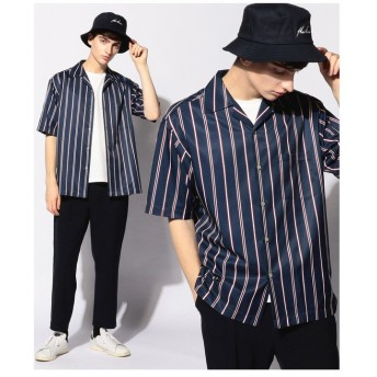 【50%OFF】 メンズビギ レジメンタルストライプオープンカラーシャツ/開襟シャツ メンズ レッド L 【Men's Bigi】 【セール開催中】