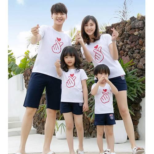 ★韓版SH-S926《韓式愛心-白色》短袖親子裝@三件組