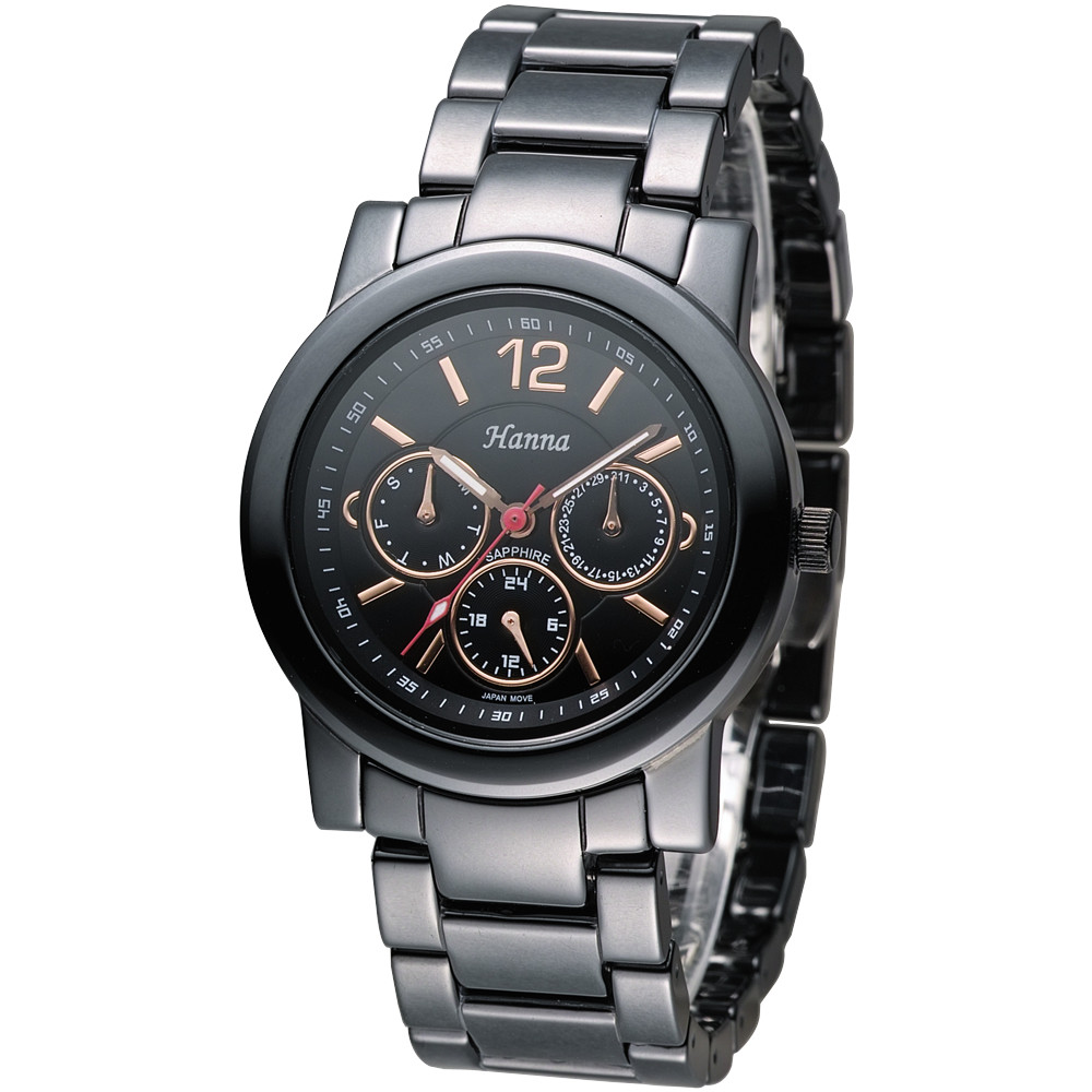 保固一年hn日系風尚全日曆黑陶瓷手錶(男/女皆喜愛)