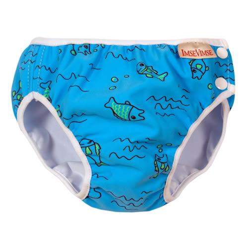 瑞典ImseVimse-超彈性防漏游泳尿褲(水藍小魚)