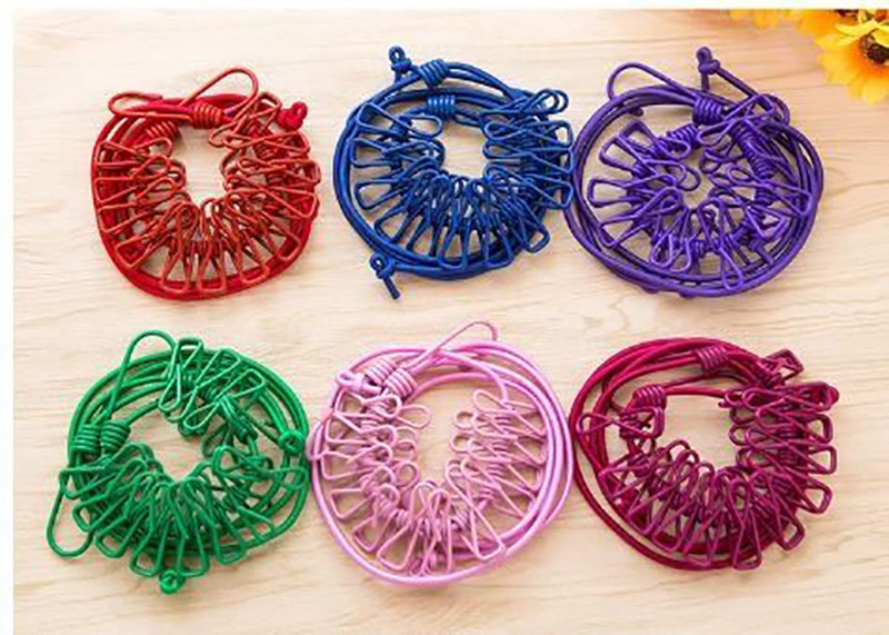多功能旅行曬衣繩 便攜晾衣夾 12個夾*顏色隨機出貨*