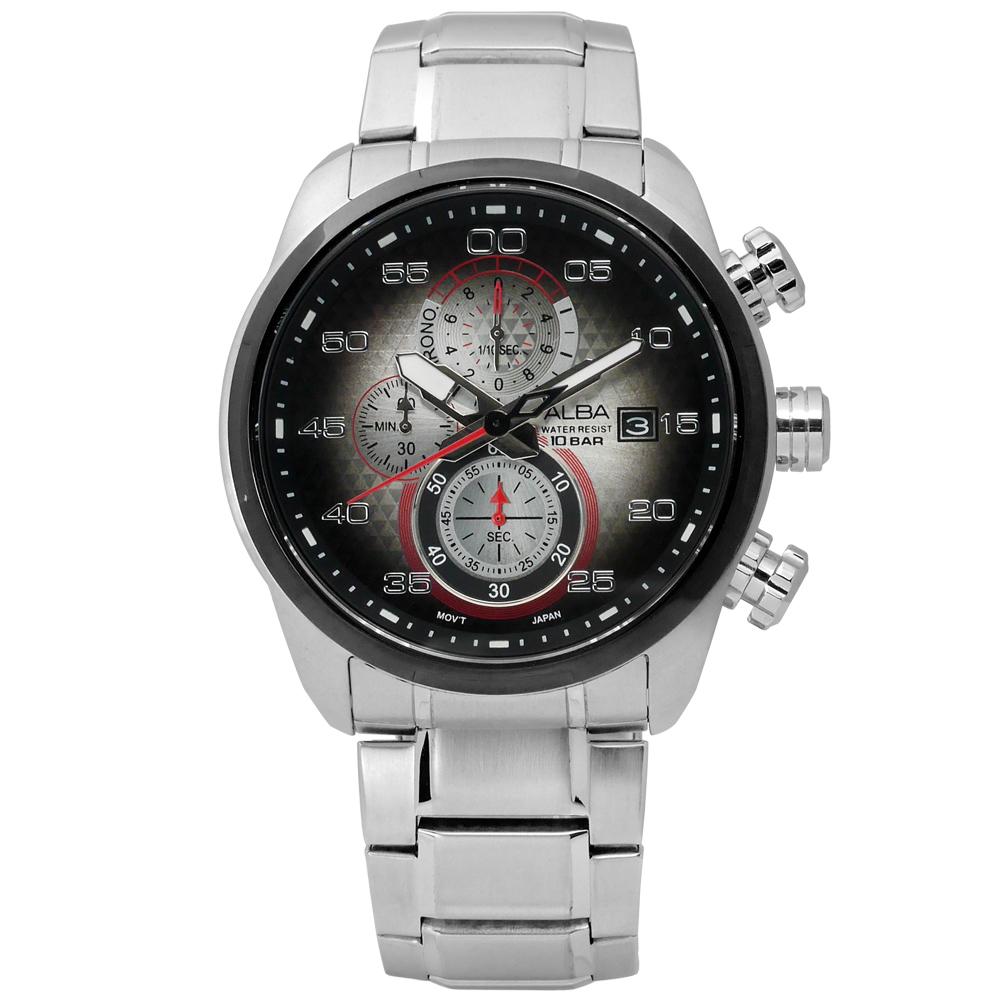 ALBA / VD57-X066D.AM3267X1 海軍酷黑潮流三環計時不鏽鋼腕錶 紅x深灰 45mm
