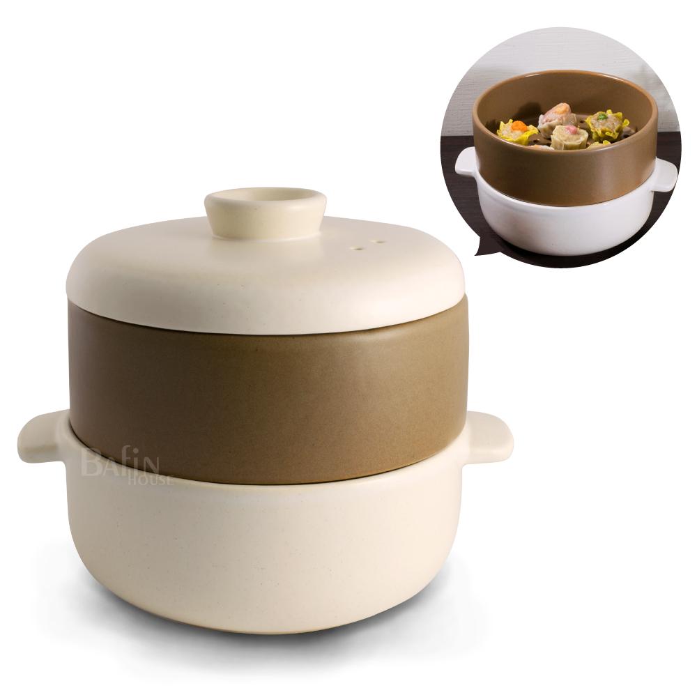 【五福窯】MIT 微笑標章 陶瓷蒸煮鍋3件組 /白(215)