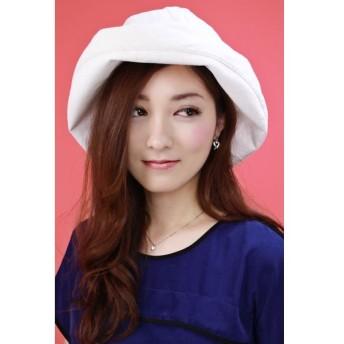 UVカット 帽子 UV 日よけ セーラーハット 調整可能 オフホワイト レディース