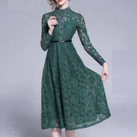 ファネルネック 花柄総レース フレアーラインワンピースドレス 大きいサイズ  春秋 DR-0031