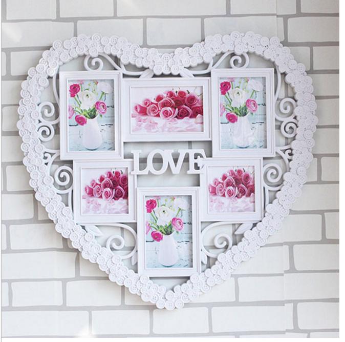 心形婚紗相框  6寸連體組合掛牆