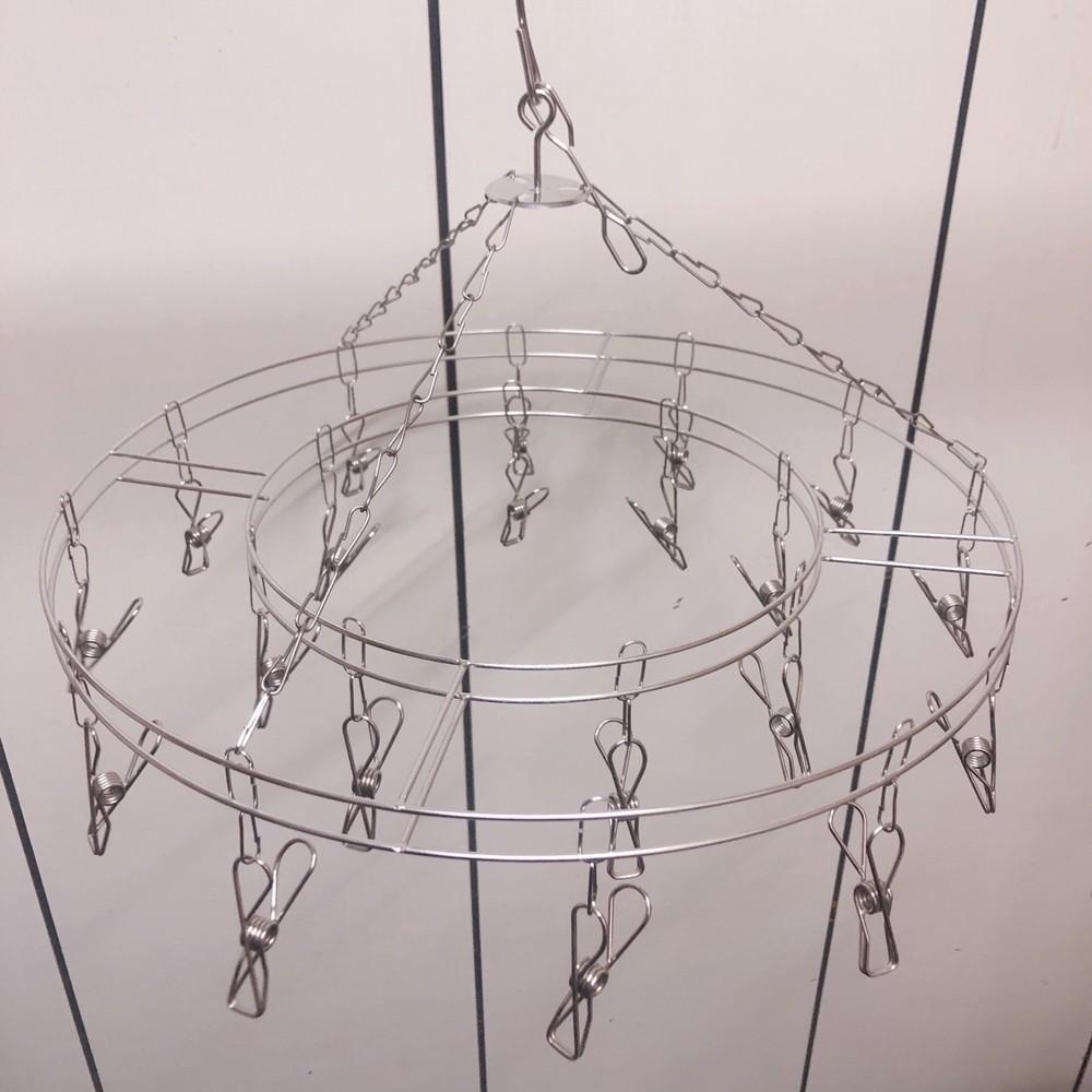 家庭必備 防風|防菌 20夾不鏽鋼曬衣架(圓形)