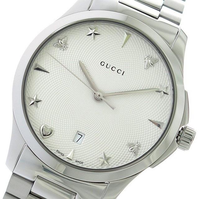 69355f26537ed3 グッチ GUCCI Gタイムレス クオーツ 腕時計 YA1264028 オフホワイト/シルバー ポイント消化