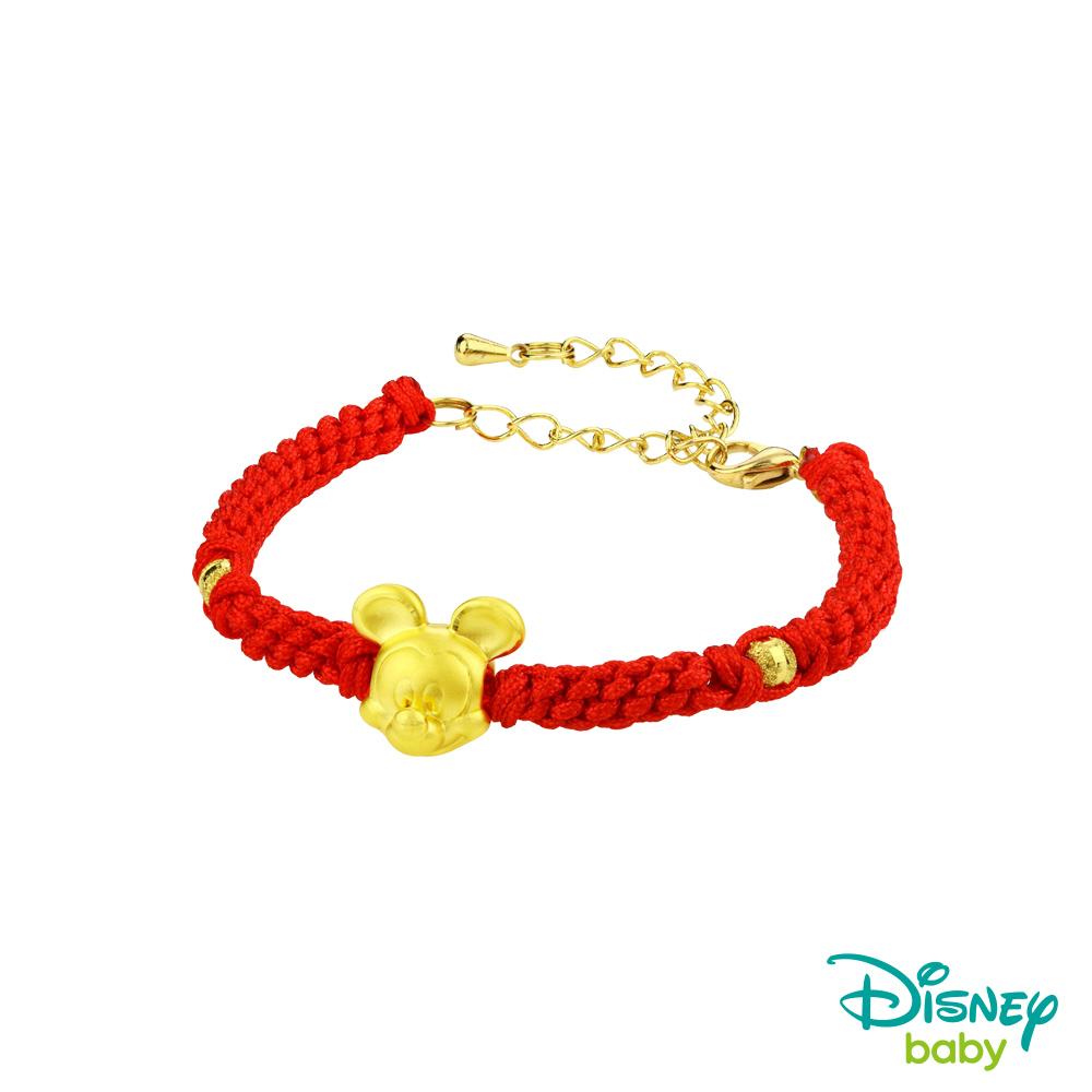 Disney迪士尼系列金飾 黃金編織手鍊-平安結米奇款-鮮紅