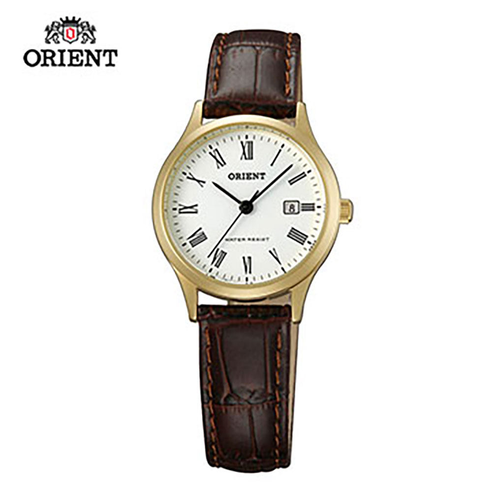 ORIENT 東方錶 TRADITIONAL STYLE系列 復古阿拉伯數字石英錶 皮帶款 FSZ3N009W 金色 - 28mm