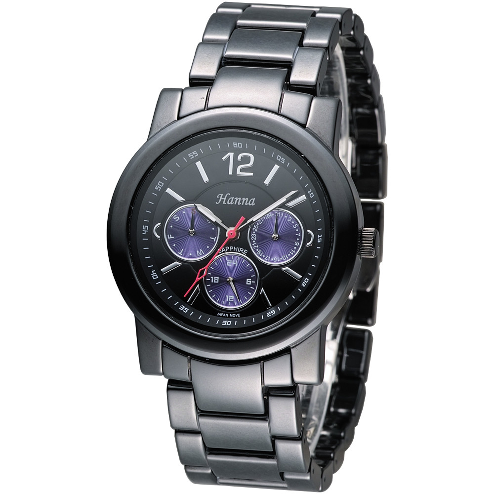 保固一年hn日系風尚黑陶瓷腕錶-紫色小錶盤(男/女皆喜愛)