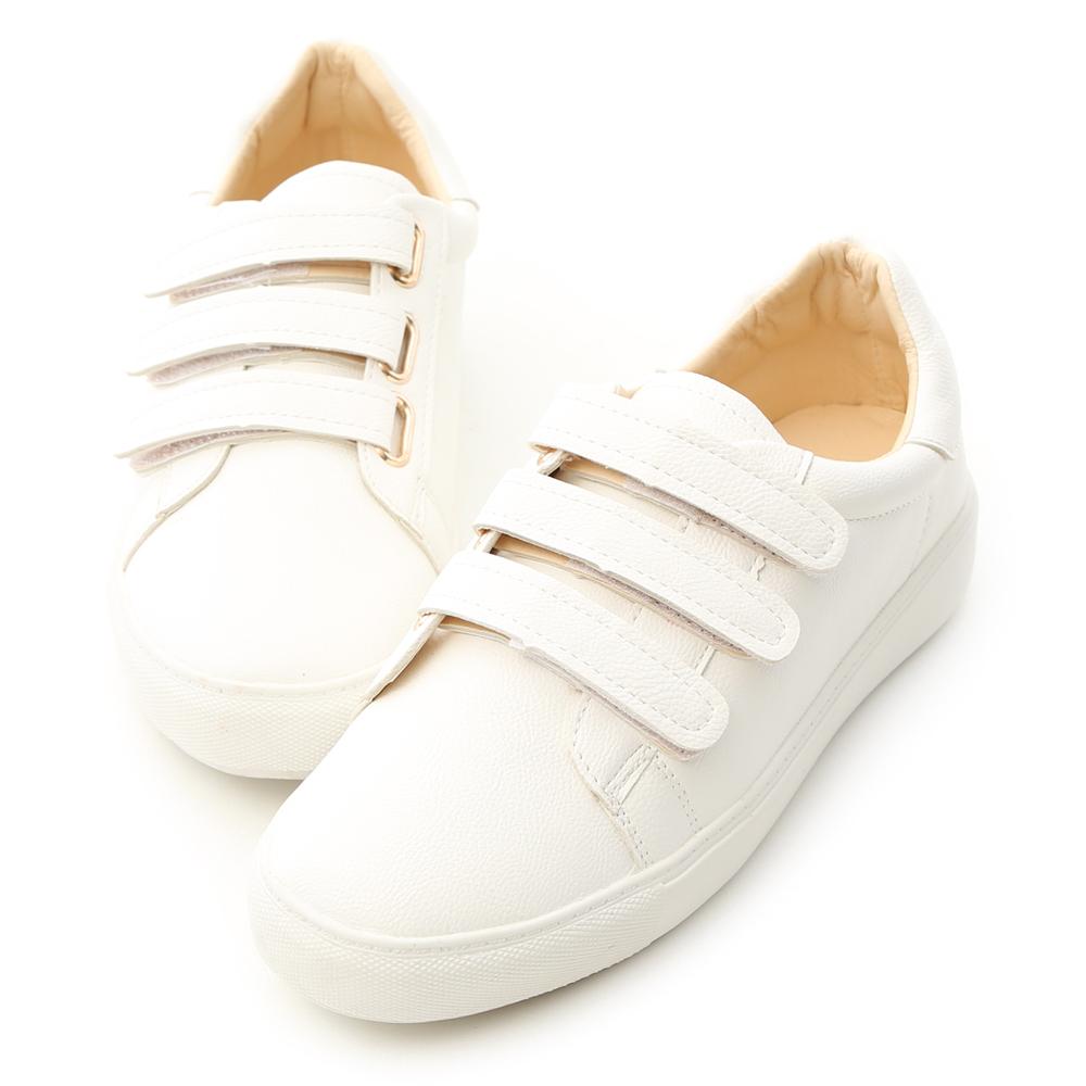 D+AF 活力時光.三條魔鬼氈休閒小白鞋
