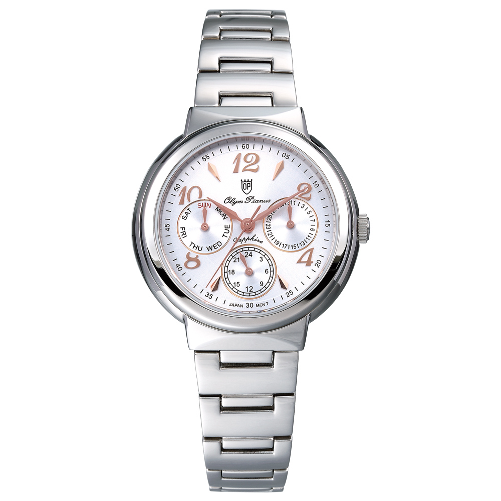 Olym Pianus 奧柏表 Vogue 輕時尚三眼計時都會腕錶 白 34mm 5686MCRS