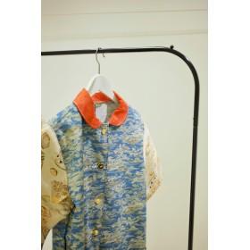 朱色丸えりと水色キモノxVintage帯そでのステキなコートドレス(no.182)