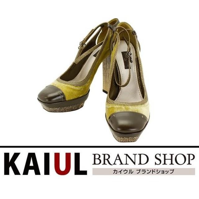 ルイ・ヴィトン 靴 パンプス サイズ:約22.5cm パイソン×ハラコレザー グリーン系×ブラウン SAランク