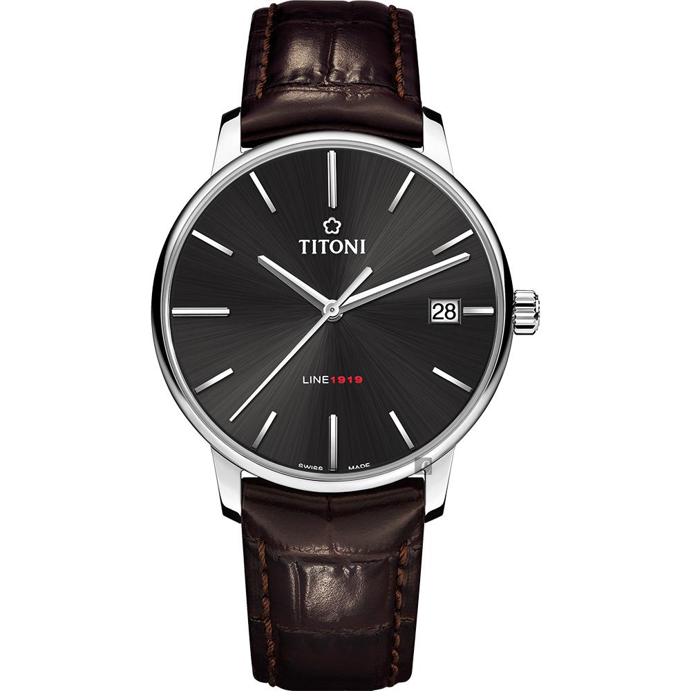 TITONI 梅花錶 LINE1919 百年紀念 T10 機械錶-炭黑x咖啡錶帶/40mm  83919 S-ST-576