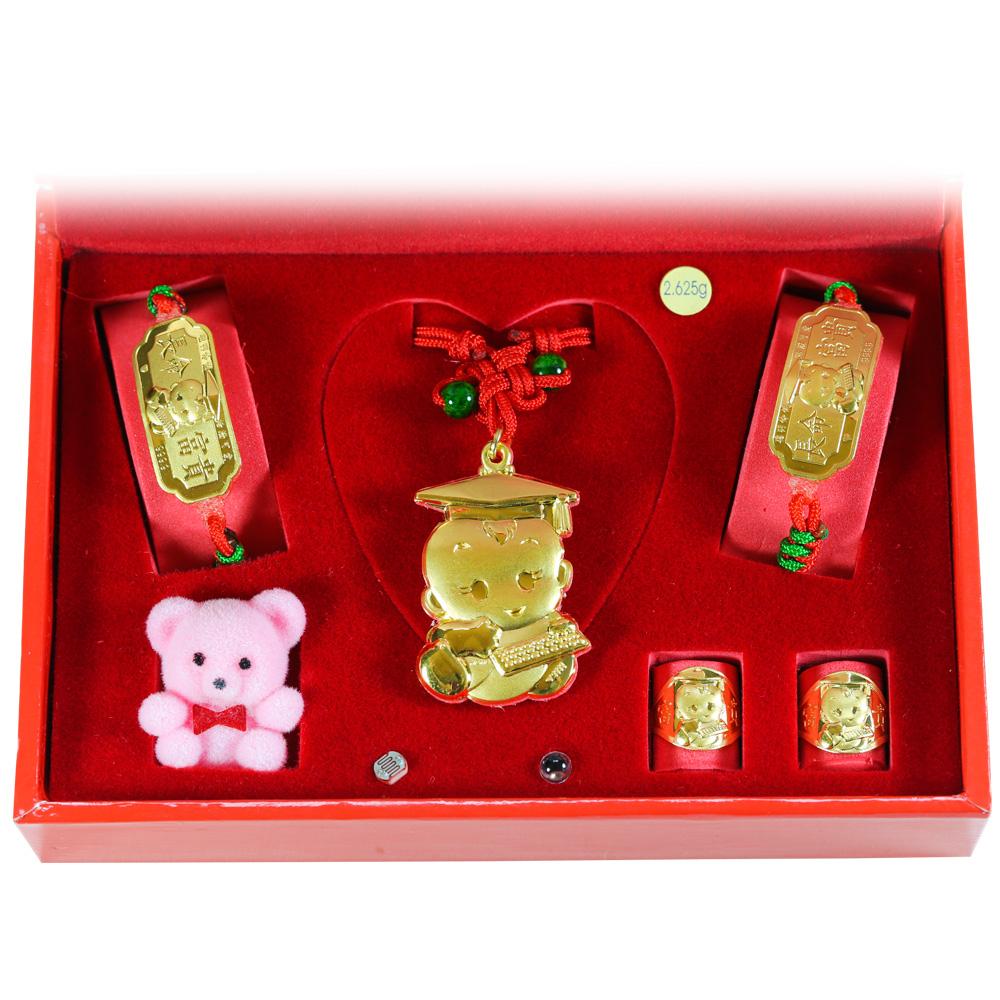EZGOLD-電腦博士-彌月金飾音樂禮盒 (0.70錢)