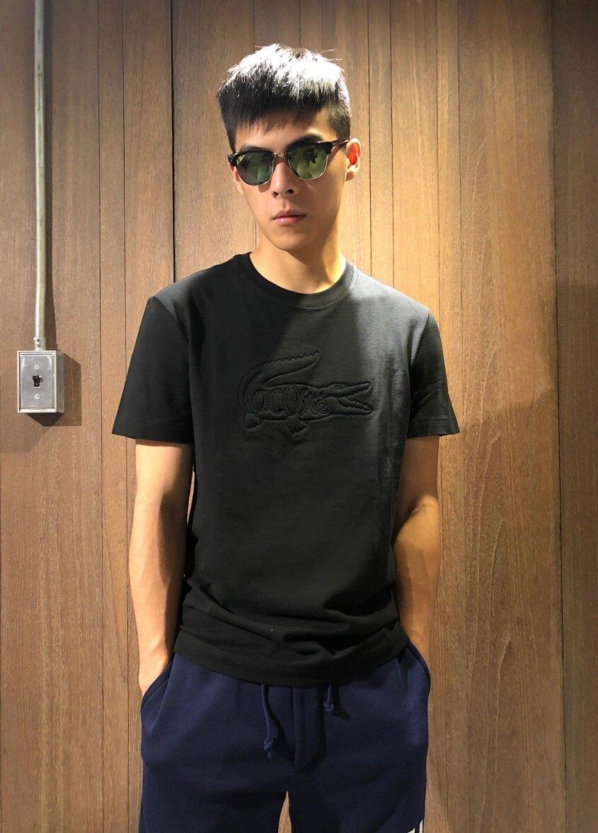 美國百分百【全新真品】Lacoste 鱷魚 T恤 T-SHIRT 網眼 短袖 上衣 圓領 浮雕logo 黑色 AH03