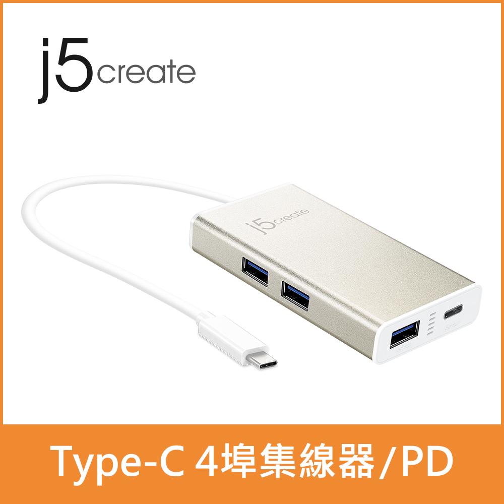 ★快速到貨★【j5create 凱捷】 USB Type-C 4 Port 集線器(JCH346)