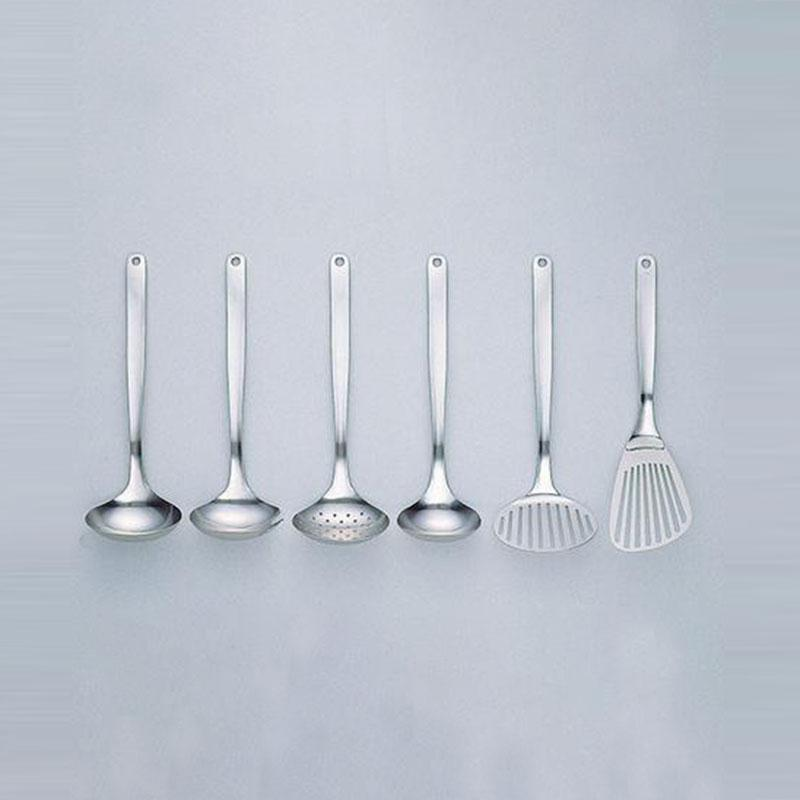 不鏽鋼調理器具六入組 湯杓(大,中),叉杓,圓孔杓,鍋鏟,奶油拌匙