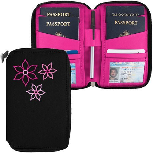 《TRAVELON》Bouquet繡花拉鍊防護證件護照夾(黑)