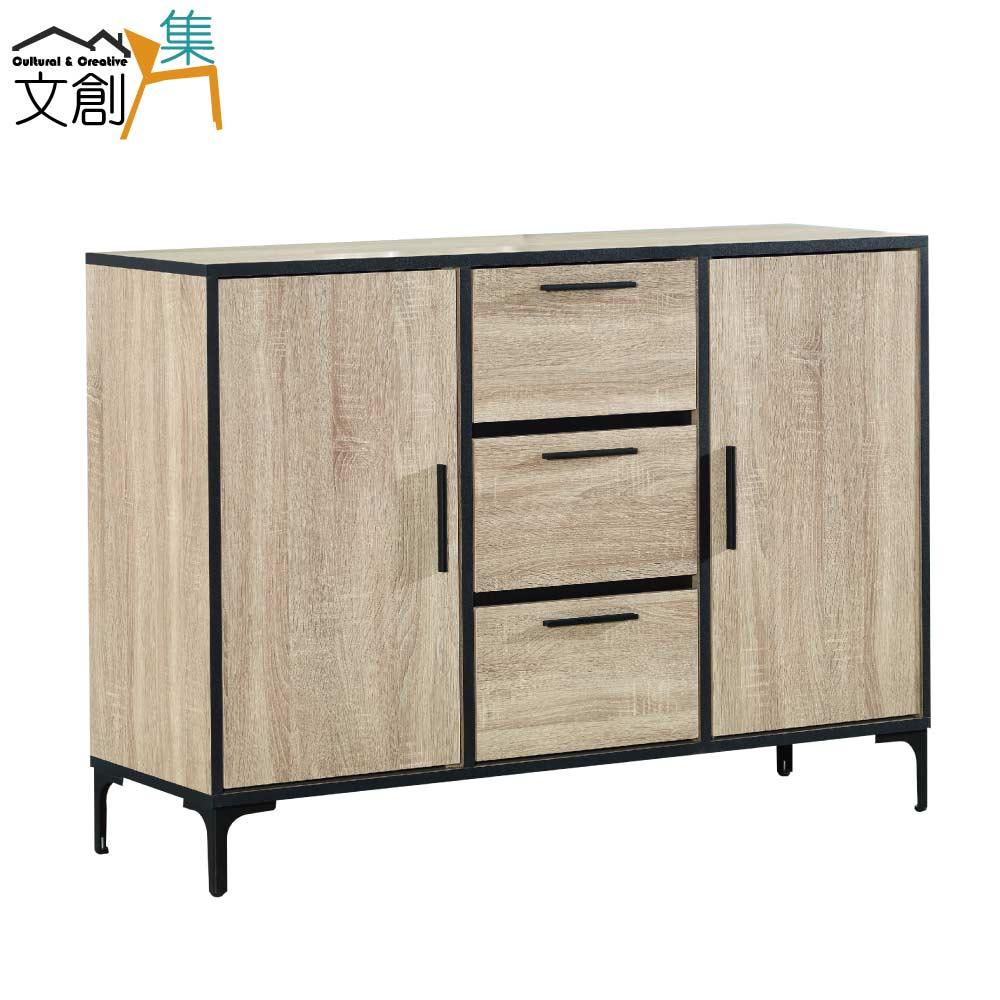 【文創集】亞瑟 時尚4尺木紋二門餐櫃/收納櫃