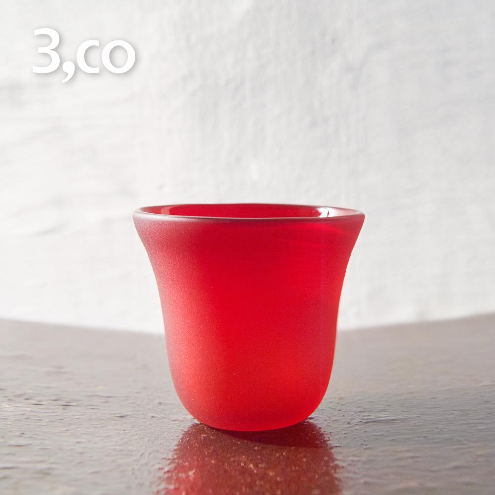 【3,co】手工彩色玻璃杯(小) - 紅