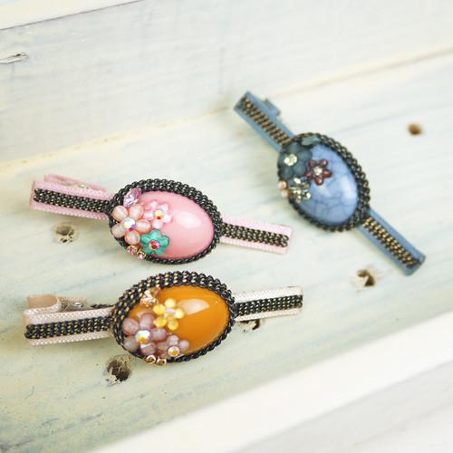 pinkypinky boutique甜美宮廷風髮夾粉紅色/藍色/橘色