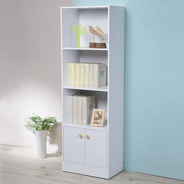日式二門四層書櫃-純白色❘書櫃/收納櫃/櫥櫃/展示櫃/置物櫃/收納櫃【YoStyle】