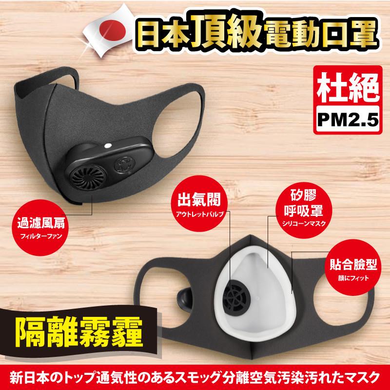 1.為了自己和家人的健康,妳需要一款好口罩!,智能新風防霾口罩,0.3微米顆粒物防護率99.98%,5重防護,霧霾、PM2.5、防塵、甲醛、殺菌 2.矽膠呼吸罩3D修臉設計,與面部貼合緊密,醫用矽膠環
